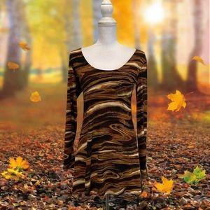 Eva Varro Brown Long Sleeve Mini Dress